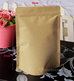 100pcs lot- 13*21+4cm Stand up zipper top Kraft paper bag for tea nuts dried food packaging pouch