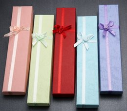 60PCS lots Bow Jewellery Gift Box For Necklace Storage Box FREE SHIPPING 21*4*2cm