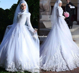 Long Sleeve Muslim Hijab Wedding Dresses 2019 New Arrival Lace Up Appliques Islamc Bridal Gown Custom Made For Wedding Party High Quality