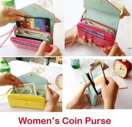 Women's wallets coin case purse for iphone 4 4S 5 5S 5C 6,For Samsung Galaxy s2 s3 s4 s5 wallets case handbag Free shipping