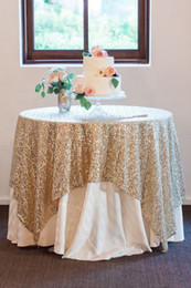 Wholesale Great Gatsby wedding table cloth custom size round and rectangle Add Sparkle with Sequins wedding cake table idea