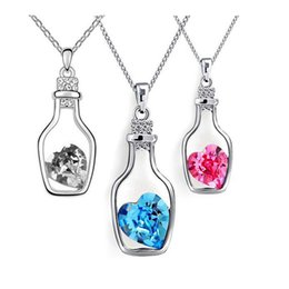 Wholesale New Arrival Austria Crystal Wishing Bottle Pendant Necklace Designer Jewelry For Women With silver chain necklace