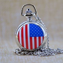 Wholesale New Fashion American US Flag Small Quartz Luxury pocket watch Analog Pendant Necklace Mens Womens Gifts P091