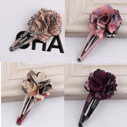Wholesale Hair Flower Barrettes for baby girls hair flower clips snap clips flower grip flower UK style fashion baby hair barrettes