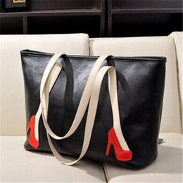 Wholesale Large Capacity Designer Ladies Totes Two Tone Vintage Leather Handbags High Heels Decoration Affordable Ladies Bags for