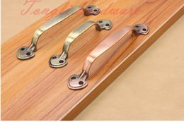 Wholesale Simple long red bronze and bronze Antique copper cabinet handle kitchen cupboard drawer hardware pulls with pitch row mm