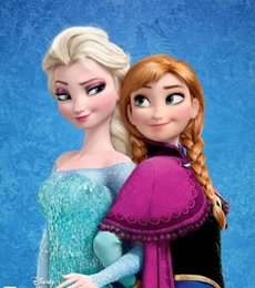 Wholesale 2014 Fashion Frozen Snow Queen Anna Elsa Synthetic Cosplay Hair Long Curly Hair Wigs Kids Braid Anime Wigs