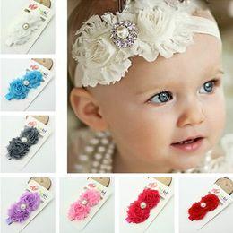 Wholesale Shabby Flowers Baby Headbands Chiffon Fabric Flower Pearls Rhinestones Button Colors Children Hair Accessories