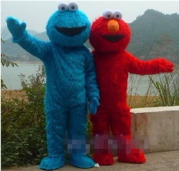 TWO PCS!! Sesame Street Red Elmo Blue Cookie Monster Mascot Costume, Animal carnival +Free shipping