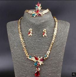 New Trendy Flower Pendant 18K Gold Plated Austrian Crystal Necklace Bracelet Ring Earrings Jewelry Set For Women Wedding Set