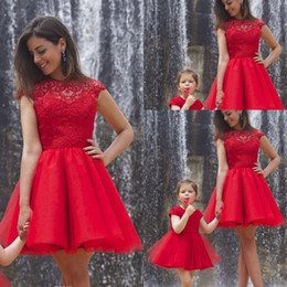 Red Mother and Daughter Matching Party Dresses Sexy A Line Crew Neck Capped Sleeve Sheer Lace Mini Pleats Formal Cocktail Gowns 2015 lace