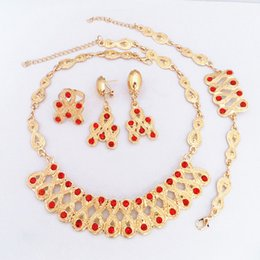 24K Gold Plated Red Crystal Ruby Necklace Earrings Bracelet Ring Fashion Jewelry Sets 706 Gold Jewellry Set Women Party Dress Necklace Set