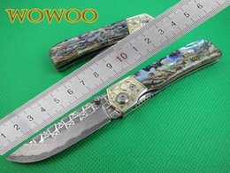 Wholesale 01499 EDC Pocket Knife Damascus Folding Knife Artificial Abalone Shell Steel Handle Best Quality Survival Camping Knives Hot Sale