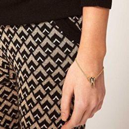 Wholesale Women Gold Link Tone Metal Cool Tooth Punk Cusp Shape Men Jewelry Linked Chain Bracelet Elegance Style