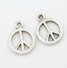 Wholesale Hot sell x14 mm Antique Silver Small Smooth Peace Sign Charms Pendants Jewelry DIY L246