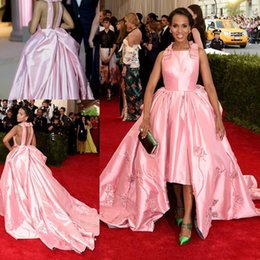 Charming Celebrity Dresses A-Line Square Neck Sleeveless Satin Backless Kerry Washington Red Carpet Dresses 2016 Formal Evening Party Gowns