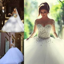 Said Mhamad Long Sleeve Wedding Dresses vestidos de noiva Crystal Ball Gown Bridal Gowns Lace Up Back Luxury Wedding Dress for Brides
