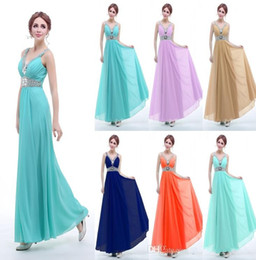 Ream Image Bridesmaid Dresses Cheap V Neck Beads Crystals Chiffon Bridesmaid Dresses Long Under 50 Sash Low Back Bandage Formal Gown