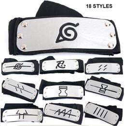 Wholesale 18 styles Naruto Kakashi Sasuke Sakura Headband Leaf Village Headband COS Props Accessories