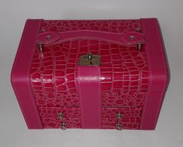 Red leather jewelry box with 2 tray and lock Suitable for all kinds of gifts,5 colors can choose,10pcs lot drop shipping