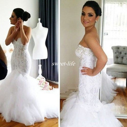 2019 Lace Mermaid Wedding Dresses Crystals Sweetheart Backless Tiered Tulle Sexy Formal Bridal Gowns Long Vintage Bride Wear