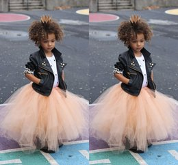 Wholesale Child Skirt Cute - Cute Ruched Tulle Little Girls Skirts Floor Length Puffy Tutu Princess Petticoat Infaint Toddler Children Formal Party Dresses Custom Made