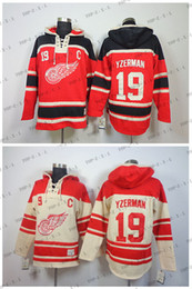 Factory Outlet, Detroit Red Wings Jersey Sweatshirts Ice Hockey Hoodies #19 Steve Yzerman Beige\Red Accept Mix Orders