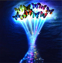 Wholesale 2015 LED Toy Shine Briad Colorful Butterfly Hair Party Essential Decoration Halloween Christmas Party Decoration Fiber Optic Pigtail Braids
