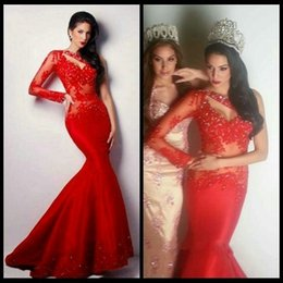 Wholesale Cheap One Sleeve Wedding Dresses - Long Sleeve Prom Dresses 2015 Dresses Evening Wear One Shoulder Mermaid Beaded Appliques Red Wedding Formal Dresses Cheap Evening Gowns