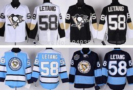 2015 Cheap Pittsburgh Penguins Hockey Jerseys #58 Kris Letang Jersey Black White Blue Navy Color Wholesale Stitched Free Shipping