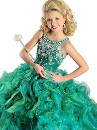 Robes de pagent perles en Ligne-2016 Nouvelle Annonce 20% Off Green or Red Bling bling Crystal Beaded Backless Jolie Ruffled Girl Girl Pagent Dress Robe Girl Dresses