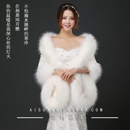 Wholesale Cheap Faux Fur Wedding Wraps - Cheap Hot Sales White Bolero Jacket Wedding Dress Full New Faux Fur Winter Bridal Wraps Shawls For Evening Party Events BOA