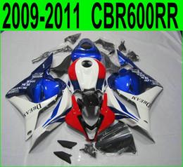 Injection molding fairing kit for Honda CBR600RR 2009 2010 2011 red blue white aftermarket CBR 600RR 09 10 11 custom fairings set YR47