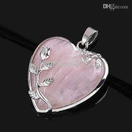 Wholesale Elegant Pink Rose Quartz Heart Flower Pendant Bead Fit Necklace Making
