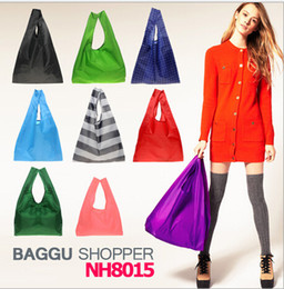 Wholesale Candy Color Baggu folding Shopping Bags Reusable Eco Friendly Tote pouch Environment Safe Go Green Chritstmas gifts