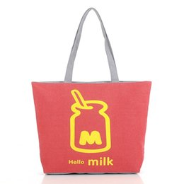 Wholesale Fashion lovely women tote bag canvas female leisure one shoulder bag milk bottle print shopping carrier bag colors available