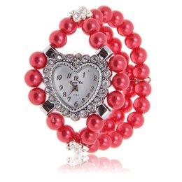 Montres de gros perle en Ligne-Grossiste-filles dames coeur design strass assortiment de perles bracelets bracelet bracelet DHL Livraison gratuite