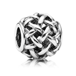 Wholesale 925 sterling Silver charms openwork Basketweave beads for women Bracelets necklaces statement necklaces silver jewelry Making X348