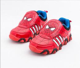 Zapato de los niños 2015 nuevo hombre de hierro hierro Spiderman Flasher moda deportiva zapatillas de deporte para niños niño deporte zapatos chicos Girls26 -33 desde zapatos de hombre araña para niños fabricantes