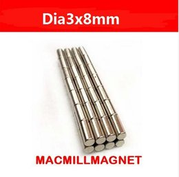 Wholesale Brand New Mini small Rod Rare earth Neodymium super Strong Permanent Magnet pack Dia3x8mm cylindrical bar Magnet