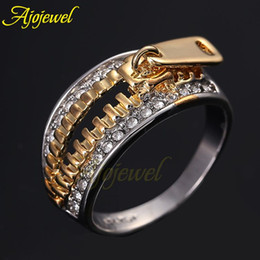 010 2014 Unique Fashion Jewelry Brand New 18K Rose Gold Plated Zipper Rhinestones Rings For Women