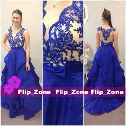 Royal Blue 2015 Lace Prom Formal Evening Dresses Sheer Neckline A-Line V-Neck Zip Back Floor Length Satin 2016 Cheap Custom Made Gowns