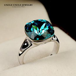 Hotselling!! White Gold Color Top Quality Austrian Crystal Blue Sapphire Luxury Square Woman Finger Ring Wholesale 18krgp stamp