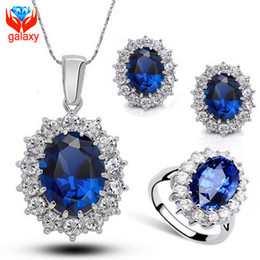 Luxury Sapphire Necklace & Earrings & Ring Jewelry Sets 18K White Gold Plated Blue Swiss CZ Diamond Bridal Wedding Jewelry Sets ZS202