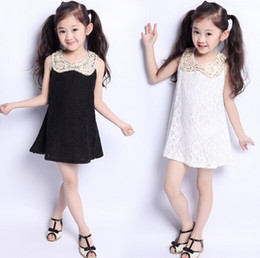Korean children's clothing girls lapel vest dress white black lace Wholesale and Retail