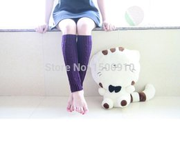 Wholesale-Free Shipping Purple Thick Leg Warmers Hand Knitted Boot Socks Large Cable knit Boot Cover Ice Skating Leg Warmers2074