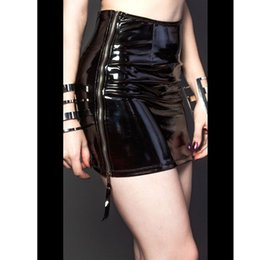 Wholesale Casual Mini Skirt Outfits - Sexy Ladies Zipper Side Faux Leather PVC Women Mini Club Pencil Skirt 2016 Bodycon Party Vestidos Outfits Club Wear Costumes XXL