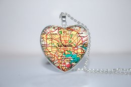 Wholesale 10pcs Baltimore Map Pendant Baltimore heart Necklace Glass Photo Cabochon Necklace