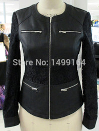 Wholesale-Women black PU jacket with lace for sleeve and waist ladies faux leather coat casual polyurethane garment