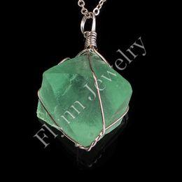 Wholesale Precious Different Green Fluorite Natural Gem Stone Reiki Pendulum Windings Pendant Charms Healing Chakra Amulet Jewelry x